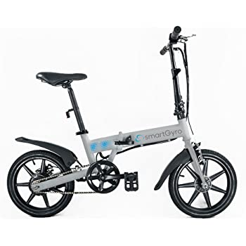 Smartgyro Ebike Silver - Bicicleta Eléctrica Plegablecon con asistente al pedaleo, ruedas de 16