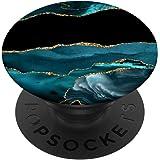 Bleu océan turquoise turquoise avec accent jaune noir PopSockets PopGrip Interchangeable