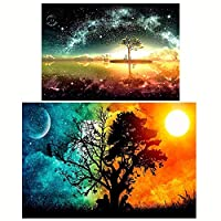 ‏‪Goolsky Diamond Painting 2 قطعة DIY 5D Drill Diamond Painting Needlework Crystal Painting Rhinestone Cross Stitch Mosaic Painting Art Craft for Home Wall Decoration‬‏