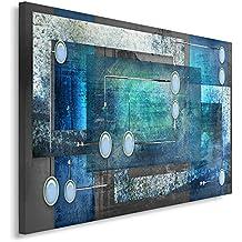 Feeby Frames, Cuadro en lienzo, Cuadro impresión, Cuadro decoración, Canvas de una pieza, 60x80 cm, ABSTRACCIÓN, CÍRCULOS, RECTÁNGULOS, CUADROS, GRIS, AZUL