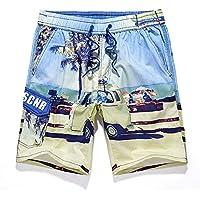 XiYunHan Pantalones de playa de verano de los hombres de algodón de surf junto al mar de secado rápido de la moda floja pantalones cortos de impresión de la marea pantalones de jogging (Size : L)