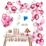117 pcs Rose Balloons, Wedding Decor Champagne Balloon, Barbie Pink Balloon String-Metal Red Latex Ballon, Confetti Foil Ball