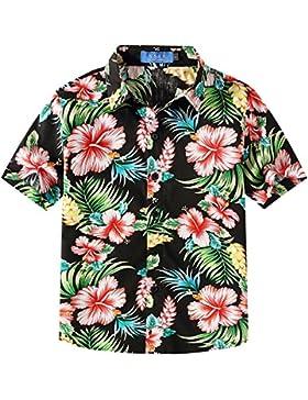 SSLR Jungen Hibiskus Baumwolle Kurzarm Casual Button Down Hawaii Hemd