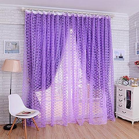 QHGstore Porta Nuova finestra Decor cortina di Drape Pannello Rose voile sciarpa pura Valance, contiene solo la finestra di screening, che non includono le tende Viola