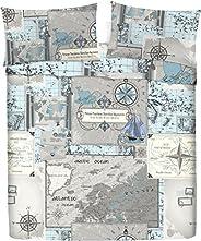 LARA MORADA Set Completo Letto Lenzuola 100% Cotone Stampato Disegno Mappa (Azzurro, Matrimoniale)