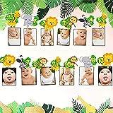 JeVenis 12 Monate Dschungel Gold monatliches Foto-Banner, Baby-Monats Rekord-Banner, wildes Januar-Foto-Banner, erster Geburt