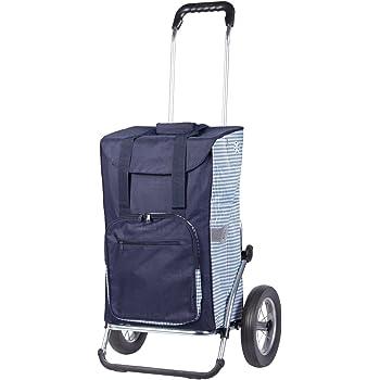 Andersen Chariot de courses Royal avec sacoche Dante bleue, volume 45L, cadre aluminium et roues à rayons métalliques, compartiment isotherme