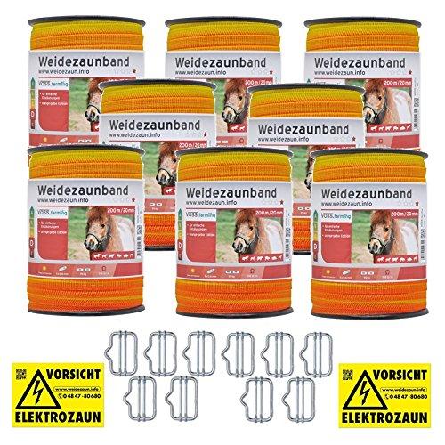 *1600m Weidezaunband 20mm Elektrozaunband 5x 0,16 Niroleiter – mit Zubehör! – gelb oranges Elektroband von VOSS.farming für Weidezaun Elektrozaun Ponyzaun Pferdezaun*