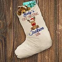 Personalizzato Calza natalizia con Babbo Natale, Bianco Blu Bambino Primo Natale Renna XL, circa 28cm x 57cm