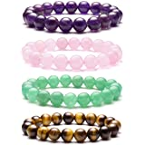 Top Plaza Mens Womens Natural Gemstone Round Beads Healing Crystals Reiki Chakra Balancing Stretch Bracelets