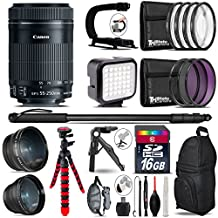 Canon 55-250mm Is STM Lens + 0.43X Wide Angle Lens + 2.2X Telephoto Lens + LED Kit + Video Stabilizing Handle + UV-CPL-FLD Filters + Macro Filter Kit - International Version