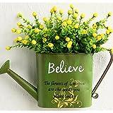 XPHOPOQ La American estilo flores artificiales plancha Jarrones Retro estilo Jardín Decoración Amarillo Rosa Jardín