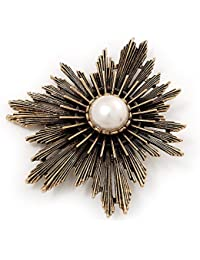 Groß im Vintage-Stil, Messing Stern Pearl, Brosche