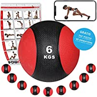 POWRX Medizinball Medizin Gewichtsball 1-10 kg inkl. Workout   Schwarz/Rot