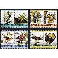 Francobolli Uccelli menta set di 8 diversi francobolli MNH a coppie se-tenant con diverse altre specie di uccelli - St. Vincent / 1985/8 francobolli - Francobolli Uccelli
