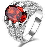 Men's silver plated ring inlaid with ruby gemstone size US 9