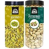 WONDERLAND FOODS (DEVICE) Premium Dry Fruits Combo Pack of (500g Pistachio + 500g Raisin, 1Kg in Jar)