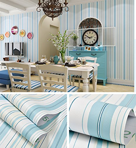 *Blau Streifen Muster, Vinyl Kontakt Papier selbst mit Lösungsmittel Regalen schälen und Stick Tapete für Kinder Kinderzimmer Schlafzimmer Wand Deal 60,5cm von 16Füße*