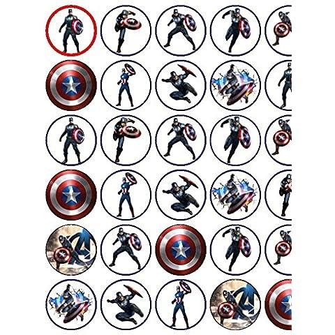 Surtido de 30de Capitán América premium papel de arroz Cup Cake Toppers