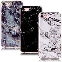 CLM-Tech 3in1 Zubehör Set: 3 x Apple iPhone 7 / 8 Hülle aus TPU Gummi Schutzhülle für iPhone 8 / 7 Hülle Case Schale Marmor Muster schwarz weiß bunt Cover, iPhone 7 Backcover, iPhone 8 Silikonhülle