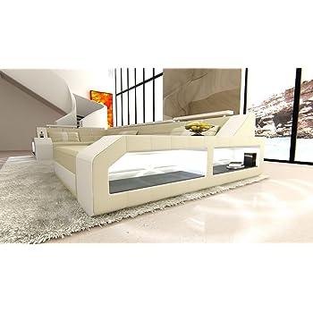 Sofa Dreams Leder Wohnlandschaft Arezzo U Form Sandbeige Dunkelbraun