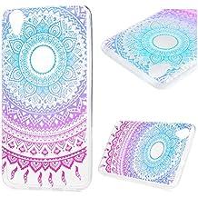Funda Huawei Y6 II/Y6 2, Lanveni Carcasa TPU Gel Silicona para Huawei Y6 II/Y6 2 (Honor 5A) Suave Flexible ultra delgado Protective Case Cover - Diseño Tótem (Rosa Azul)