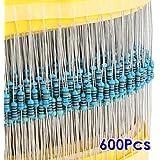 SODIAL(R) 600pcs 30 Tipos de valor 1% 0.25W 1/4 W Metal Film Resistor Seleccion Mix (1 ~ 1M ohm)