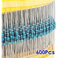 TOOGOO(R) 600pcs 30 Tipos de valor 1% 0.25W 1/4 W Metal Film Resistor Seleccion Mix (1 ~ 1M ohm)
