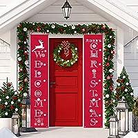 Sayala Decoración de la Fiesta de Navidad,Rojo Navidad Banner Guirnalda - Bienvenido & Feliz
