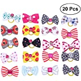Frcolor Nylon Canvas Hair Bows with Rubber Bands Accessories for Dog Cat (Multicolor, Free Size) - 20 Piece