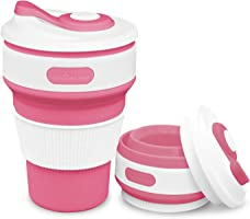ROCONTRIP Faltbare Tasse Silikon Becher 100% Lebensmittelqualität Silikon BPA-frei, 350ml, Rose Rot, 1 Stück