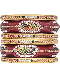 Dulari Stone Embellished Lac Round Ethnic Peacock Design Bangles For Women (Set Of 6 Bangles)(Colors Available)