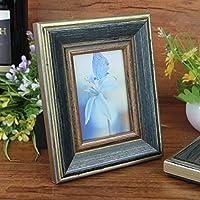 SQZH 3 pollice a 5 pollice a 6 pollice decorativo continentale cornici mietitrebbia vintage solido legno Cornici impostare regali domestici blu ,3 pollice