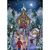 Midnight masa tarjetas de Navidad–caja de 15tarjetas y 16sobres con forro de papel de aluminio