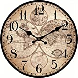 upuptop mundo decorativo tamaño grande reloj de pared de madera antiguo años mapa casa decoración de la pared diseño de números arábigos para viaje entusiasmo