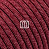 Cavo elettrico tondo rotondo rivestito in tessuto colorato Filato Grezzo Rosso Ciliegia 10 metri 2x0,75 per lampadari, lampade, abat jour, design. Made in Italy!