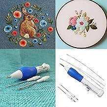 Herramienta para bordar bolígrafo magico NEEDLE PUNCHING de 3 piezas con 2 Agujas de repuesto y enhebradores de aguja accesorios de costura para BORDADO ...