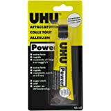 UHU Power Poliuretanico 45ml Adesivo speciali Extraforte, rapido e pulito. Trasparente
