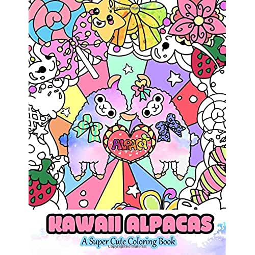dia del libro kawaii Kawaii Alpacas: A Super Cute Coloring Book: Volume 4 (Kawaii, Manga and Anime Coloring Books for Adults, Teens and Tweens)