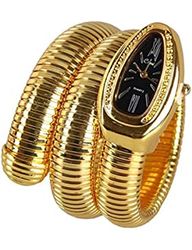 fanmis schwarz Zifferblatt gold snake Form Pop doppelt gewickelt Fashion Damen Handgelenk Armreif Armband Armbanduhr