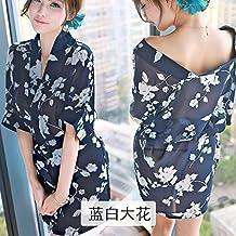BTBT*Sexy Unterwäsche sabor kimono japonés vestido de batas y sexy kit papel interesante Roben tentación Unterwäsche , Código , son azules y blancas flores