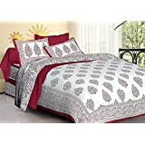 Jaipuri Haat Traditional Block Print Cotton Double Bedsheet With 2 Pillow Covers- King Size