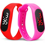 Time Up Combo of 2 Extremely Thin Waterproof Bullet-Shape Design Digital LED Kids Watches for Boys & Girls-OLED-RED