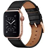 OUHENG Compatible with Apple Watch Band 38mm 42mm 40mm 44mm, Genuine Leather Band Replacement Strap Compatible with Apple Wat