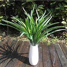 Kicode Delicioso Verde Artificial Hojas de orquídea Cymbidium Grass Plantas realistas DIY Decoración para el hogar