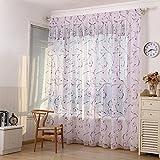 sundautumn cortinas visillos impresos flores para dormitorio/salón/balcón–Cortinas Visillos rojo 100x 200cm