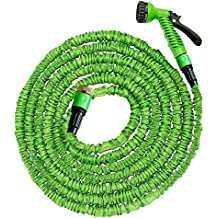 30.5 meters / 100 feet extendable flexible garden hose Flexible hose with knee safety from 3-layer natural latex 7 spraying functions / extension hose / stretchable up to 30.5 meters / 100 feet (100 Ft)