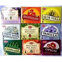 Räucherkegel Mix 9 verschiedene HEM je 10 Stück Cannabis Rose Sandelholz Aloe Vera Weihrauch Vanille Opium Patchouli... preisvergleich bei billige-tabletten.eu