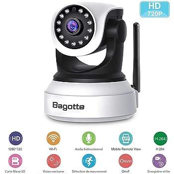 9343dcfcacf1a3 Caméra IP WiFi,Caméra Surveillance WiFi,Bagotte HD 720P Caméra de Sécurité  sans Fil avec Vision Nocturne,Détection de Mouvement,Audio bidirectionnel  pour ...