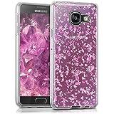 kwmobile Étui transparent en TPU silicone pour Samsung Galaxy A3 (2016) en rose clair argenté transparent Design flocons